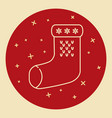 christmas sock icon in thin line style vector image