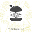 Fast food background with hand drawn burger vector image