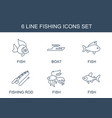 6 fishing icons vector image vector image