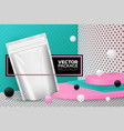 abstract scene with podium and sachet pack vector image vector image