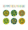 asymmetrical colorful mandala design set vector image vector image