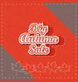 big autumn sale paper lettering vector image