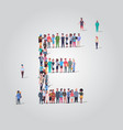 big people crowd gathering in shape letter e vector image vector image