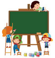 blank chalkboard and four happy kids