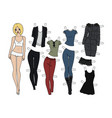 blonde paper doll vector image vector image