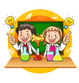 Boy and girl doing science experiment vector image