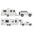 car with rv camping trailers side view vector image