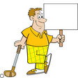 cartoon golfer holding a sign while leaning on a g vector image