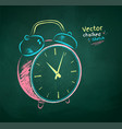 chalk drawn alarm clock vector image