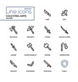 cold steel arms - modern line design icons set vector image vector image