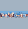colorful cityscape with buildings facades vector image