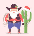 cowboy santa claus with western hat and cactus vector image vector image