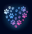 creative heart with dog or cat paw prints vector image vector image