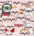 cute sloth cartoon seamless pattern vector image