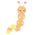 cute worm on white background vector image vector image