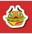 Disappointed And Sad Burger Sandwich Cute Emoji vector image vector image