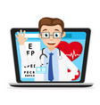 doctor smiles and waves from the laptop monitor vector image vector image