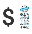 Dollar Flat Icon with Bonus vector image vector image