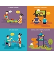 Family with concept flat icons set vector image vector image