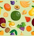 fruits exotic apple banana and papaya flat vector image vector image