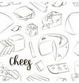 hand drawn set chees pattern vector image vector image