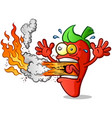 hot pepper cartoon erupting fire out his mouth vector image vector image