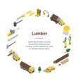 lumberman woodcutter signs 3d banner card circle vector image vector image