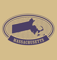 Massachusetts map silhouette - oval stamp vector image