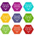 mine diamond icons set 9 vector image vector image