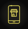 mobile shopping icon in neon line style vector image