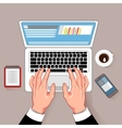 Online Working Laptop Composition vector image vector image