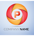 P letter colorful logo in the circle template for vector image vector image