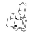 pushcart with box in black and white vector image