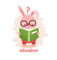 rabbit reading a book vector image vector image