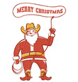 santa claus in coywboy boots twirling a lasso vector image vector image