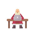 santa claus sitting at his desk reading mail on a vector image vector image