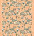 seamless pattern of hand drawn floral elements vector image