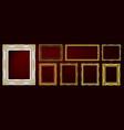 set golden royal frame on black vector image