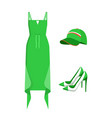 set of green clothing isolated on white backdrop vector image vector image