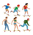 set people with skateboard vector image