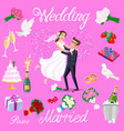 set wedding just married couple with hearts vector image