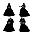 Silhouettes of the bride and groom with a bouquet vector image