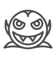 smiling vampire line icon dracula vector image vector image