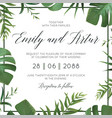tropical wedding floral invitation invite card vector image vector image