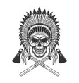 vintage monochrome indian chief skull vector image vector image