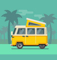 vintage van summer vacation time tropics vector image vector image