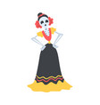 woman skeleton dressed in mexican traditional vector image