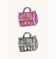 women bag vintage style hand drawn doodle vector image vector image