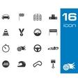 black racing icons set vector image