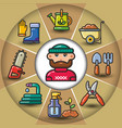 infographic set of garden tools and man vector image